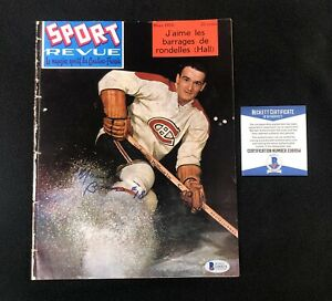 Marcel Bonin Signed Montreal Canadiens Sport Revue Magazine Beckett COA