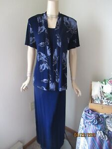 Mother Of The Bride Dress by R & M Richards-Size 14-Navy/Silver Blue/Gold