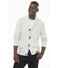 NEW EXPRESS Chalk Mixed Stitch Shawl Collar Toggle Cardigan Sweater M Medium
