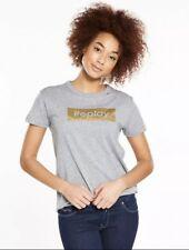Size XS New Women Replay Metallic Logo T-Shirt - Grey