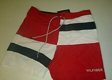 tommy hilfiger mens active wear swim trunks beach shorts w/ pockets -Med - red