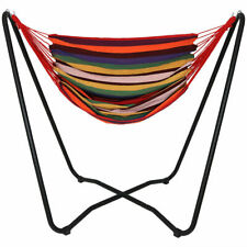 Sunnydaze Hanging Hammock Chair Swing with Space-Saving Stand - Sunset