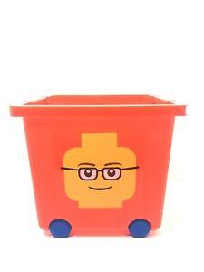 LEGO Red Plastic Storage Bin Cube Container Bucket Box W/ Wheels & Handles RARE