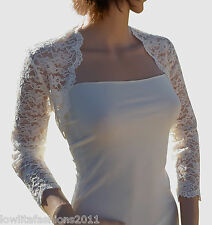 Womens Ivory  Lace Bridal Bolero, Jacket Size 8 -18 Lowlita Designs