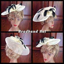 Vintage Unique Headband Hat Cream Colored Black Feathers Cute!