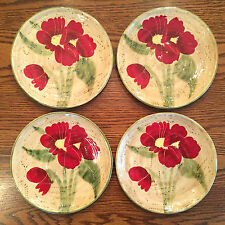 SET(S) of 4 Ambiance Coll FLEUR RUSTIQUE Salad Plates Red Poppies NANETTE VACHER