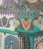 ETRO MILANO PAISLEY MULTI COLOR LONG Silk Scarf 62/26 inches MADE IN ITALY