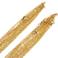"""1.5-3.2mm 16""""-32"""" Wholesale In Bulk Stainless Steel Gold Oval Chain Necklace"""