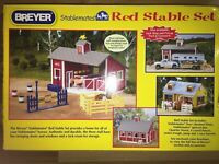 Sale-T043 Breyer Stablemates #59197 Red Stable Set! with 2 Horses + Barn & More