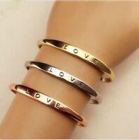 Fashion Women Gold/Silver Plated LOVE Bracelet Jewelry Charm Cuff Bangle Gift