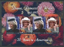 Papua New Guinea 2017 MNH Princess Diana 20th Memorial 4v M/S I Royalty Stamps