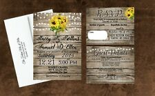 Sunflower Wedding Invitations Rustic Personalized With Envelopes and RSVP 100