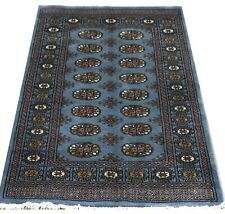 Turkmen Bokhara Hearth Rug Blue Original Fine Quality Handknotted Wool 96x150cm