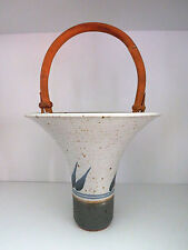 Vtg Studio Art Pottery Basket Vase Bamboo Handle Marked VA Oatmeal w/Brown, Blue