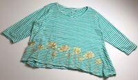 Palm Harbour Women's  Long Sleeve Blouse Top 2X Plus Green White Gold Stripes