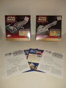 Puzz 3D Puzzles, Star Wars, Sith Infiltrator & Gun Gan Sub, Lot 2, 100%, 1999