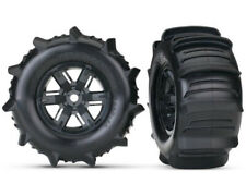 Traxxas 7773 X-Maxx paddle Tires & wheels assembled & glued - black wheels