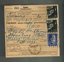 1942 Radom Germany Parcel Cover to Altenburg KZ Concentration Camp Hasag Werke