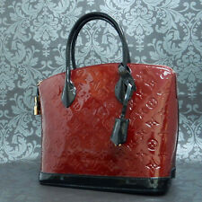 Rise-on LOUIS VUITTON Monogram Vernis Lockit Red Black Handbag Tote Bag #1