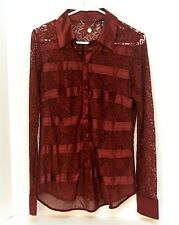 BKE Boutique Women's Blouse Shirt Sz S Button Down Lace Sheer Long Sleeve Red