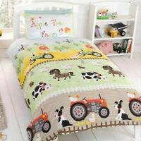 Childrens Duvet Cover Set - Single Cotton Easy Care Fun Filled Farm Bedding Set