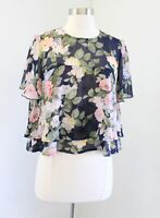 Show Me Your Mumu Margie Ruffled Floral Crop Top Blouse Size M Blue Green Pink