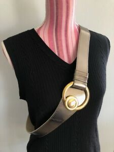 80s Metallic Silver tone Leather BELT L with Gold tone buckle and clasp Disco