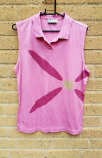 Women's Pringle Golf Sleeveless Top T-Shirt Pink Size M Cotton Collar Flower