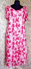 Party dress frill adornments Size 12 - 14 BM COLLECTION Pink floral on white