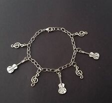 Cello and Treble Clef Handmade Silver Tone Music Charm Bracelet with Charms