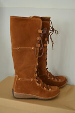 BNIB - TIMBERLAND - Brand New Long Tan Leather Suede Mountain Boots S 4 Festival