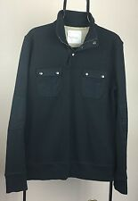 Men's Banana Republic Heritage Black M Elbow Patch Zip Mock Neck Sweater Medium