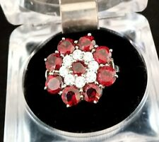 4.35ctw Solid 925 Silver Ring Set With Round Garnet Surrounded White CZ Ring