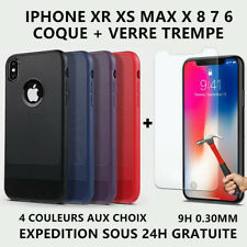 Antichoc Coque + Verre Trempé iPhone 6 6S Plus 7 Plus 8 X XS XR XS MAX 11 Pro