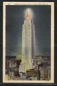 USA Empire State Building at Night 1937 to Canada with a Canada #J16 2c Due