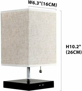 Bedside Modern Table Nightstand Lamp w/ 2 USB Charging Ports