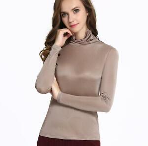 Women's 50% Silk Long Sleeve Turtle Neck T-Shirts undershirt Top L-3XL SG302
