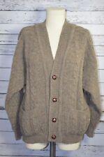 Vintage Irish Cable Knit Aran Chunky Cardigan Fisherman Sweater Taupe Medium