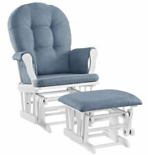 Windsor Glider Ottoman White Blue Cushion Gliding Motion Padded Arms Pockets
