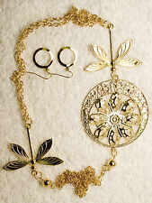 vintage style new jewelry set long BUTTERFLY necklace earrings gold tone