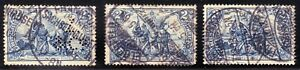 /GERMANY 1905-19 2Mark x3 -USED incl. perfin @E1280