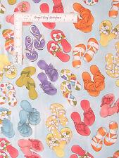 Loralie Harris Fabric - Lazy Beach Flip Flop Shoes Toss Lt Turq #692-124 - Yard