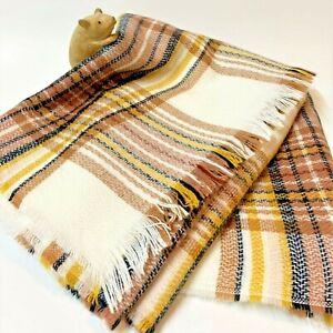 H&M Unisex Soft Winter-White & Tan Tartan Scarf Wrap - Oversize 200x65cm, As New
