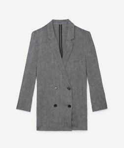 The Kooples Women's Gray Double-breasted Blazer Linen Tweed BNWT Size 38
