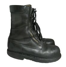 French navy double zip ranger boots Black leather army lined combat military