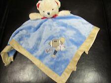 "Nwt Carters Vintage Blue Bear ""Little Rookie"" Baseball Security Blanket Lovey"