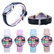 Women Watch Macaron Pattern Leather Analog Watches Quartz Wristwatches Casual