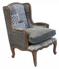 French Provincial  grey Hamptons country Vintage  upholstered arm chair
