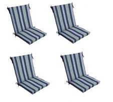 Blue Stripe Patio Chair Cushion Set Of 4 Outdoor Dining Replacement Cushions  Sea