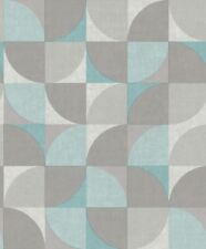 GranDeco Life Inspiration Wall Retro Style Wallpaper Blue,Grey and Silver IW3401